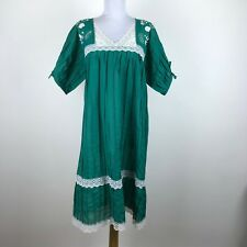 Vintage Mexican Embroidered Dress Sz S M Green Floral Boho Festival Short Sleeve