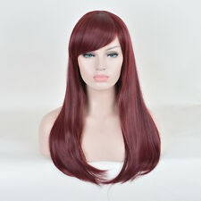 Long Burgundy Red Wig Anime Cosplay Straight Synthetic Heat Resistant Hair Wigs
