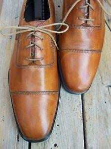 COLE HAAN Mens Dress Shoes Cognac Brown Leather Lace Up Cap Toe Oxfords Size 10M