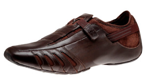 Authentic Puma Vedano Coffee Brown Leather Hook-And-Loop Driving Shoes 303811_02