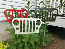 Jeep Front Grill Garden Stake Art