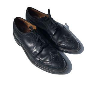 Florsheim SZ 7.5 Black Leather Wing Tip Oxford Dress Shoe Broguing Style Details