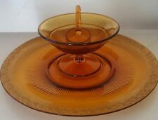 TIARA INDIANA AMBER SERVING PLATTER WITH DIP DISH AND SPOON SERVER GOLD TRIM