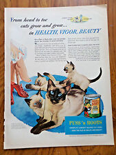 1953 Puss n Boots Cat Food Ad Cats Kittens