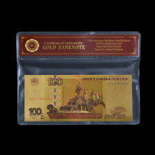 WR Russia 100 Rubles 1997(2004) 24K Gold Foil Colored Banknote Collection /w COA