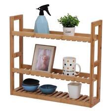 Bamboo Bathroom Rack 3 Layers Wall Shelf Storage Adjustable Toilet Living Room
