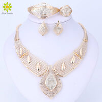 Fashion Gold Plated Jewelry Set Necklace Bracelet Earring Ring Crystal For Women
