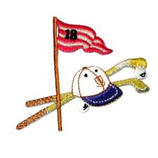 IRON ON PATCH APPLIQUE - GOLF CLUBS HAT BALLS AND FLAG