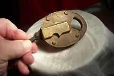 ANTIQUE UNUSUAL HEAVY BRASS PAD-LOCK - NO KEY - LOT B727