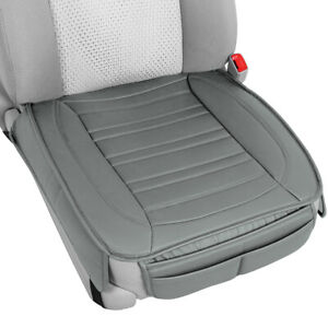 Motor Trend Universal Car Seat Cushion, Gray Faux Leather (2-Pack) - Front Seat