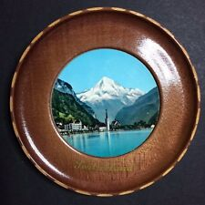 Vintage Switzerland Decorative Collectible Souvenir Wood Plate 4""