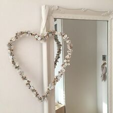 X LARGE VINTAGE CREAM HANGING METAL HEART BUTTON & BEADS WALL PLAQUE WEDDING DEC
