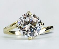 14K Yellow Gold Solitaire Cubic Zirconia Engagement Ring 8mm / 2ct  CZ Women's