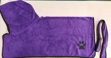 CLEARANCE Plain PURPLE Dog towel/Dog robe, drying coat, hooded paw print design