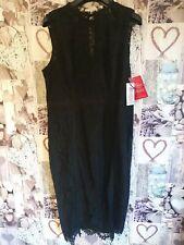 Little Mistress Lace Midi Dress Black Uk Size 18