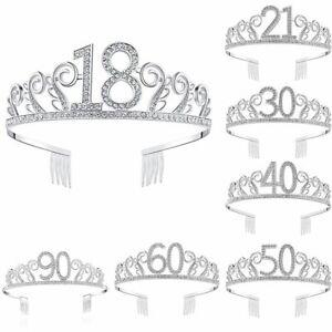Crystal Rhinestone Princess Crown Happy 18th 21st 30th Birthday Tiara Crown