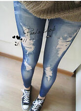 Women Faux Fake Ripped Jean Denim Look Slim Stretch Party Leggings Jegging pants