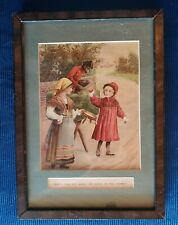 Victorian Art Print Gypsy & Costumed Monkey Tempting Young Girl Morality ExCond