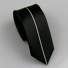 LAMMULIN Ties Black with Silver Vertical Stripe Woven Necktie Skinny Neck Tie