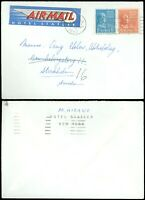 1952 NY, Neat HOTEL STATLER AIR MAIL Label! For'n Dest SWEDEN, #801 #815 Prexies