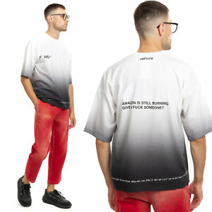 RRP€230 F_WD T-Shirt Top Size XS Ombre Effect Printed Inscriptions Made in Italy