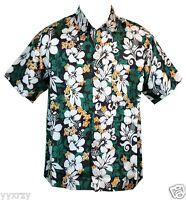Men Aloha Shirt Cruise Tropical Luau Beach Hawaiian Party Silk Green Hibiscus