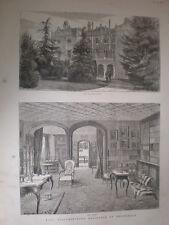 Hughenden manor home of Disraeli Buckinghamshire 1880 old prints