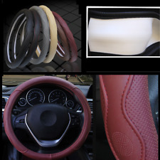 38CM Fiber PU Leather Embossed Car SUV Steering Wheel Cover Sport Style Burgundy