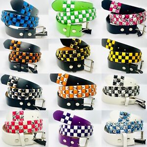 3 ROW METAL PYRAMID STUD LEATHER BELT CHECKERED COLORFUL PUNK ROCK GOTH SKATER