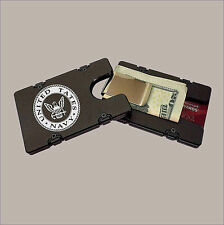 U.S. NAVY Black Aluminum Credit Card Holder/Wallet with RFID Protection