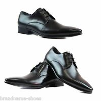 MENS ZASEL BLACK LEATHER DRESS LACE UP LACES WORK FORMAL WEDDING CASUAL SHOES