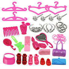 42pcs/Set Jewelry Necklace Earring Comb Shoes Crown Accessories For Barbie Dolls