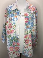 NWT Alfred Dunner 1X Two Fer Floral 3/4 Sleeve Top Blouse Plus Size Layered Look