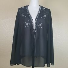 David's Bridal Sheer Black Embroidered Beaded Jacket Women's Size 14w