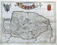 NORFOLK, NORFOLCIA, BLAEU original hand coloured antique map 1662