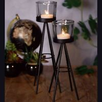2 Metal Tea Light Candle Stick Stand Glass Holder Set 8x19cm & 8x24cm Tall Pair