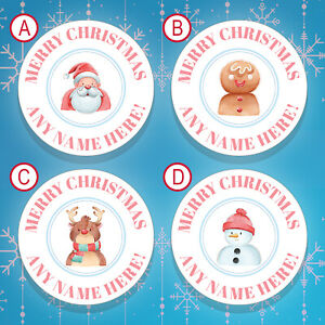 70 x PERSONALISED Christmas Stickers / Christmas Labels Gift Tags Stickers (007)