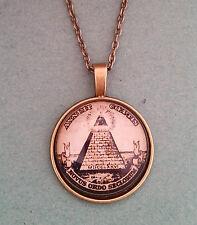 Antique Bronze Illuminati Masonic Pyramid Glass Dome Necklace Pendant