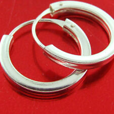 HOOP EARRINGS GENUINE REAL 925 SOLID STERLING SILVER UNISEX SLEEPER DESIGN