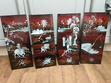More details for 4 chinese red lacquer wall panels with inlaid mother of pearl scenes
