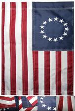 "12x18 Embroidered Betsy Ross Nylon Blue Sleeve Garden Flag 12""x18"""
