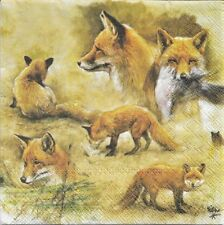 2 Serviettes en papier Renards Decoupage Paper Napkins Portraits of Foxes