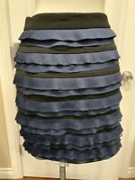 Elizabeth and James Black & Navy Blue Ruffle Striped Mini Skirt, Size XS