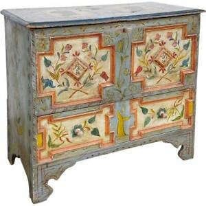 Antique Amercian New England Painted Pine Lift-Top One-Drawer Blanket Chest