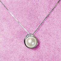 Love Gift Swarovski Crystal Genuine Pearl Pendant Necklace 925 Sterling Silver