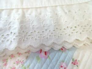 """Vintage Dan River White Percale Full Sheet with 4"""" Embroidered Eyelet Lace Trim"""