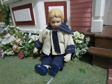 """Vintage Bisque Jointed Doll Miniature Sailor Outfit 4 1/2"""" for Doll House"""