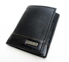 NEW GUESS CHICO BLACK LEATHER PASSCASE TRIFOLD CREDIT CARD CASE MEN'S WALLET