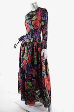 OSCAR de la RENTA Vintage Red/Green Floral Silk Taffeta Gown w/Cutout Hem $6000