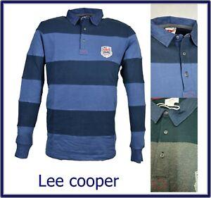 polo uomo manica lunga l xl xxl maglia caldo cotone t shirt felpata a righe blu